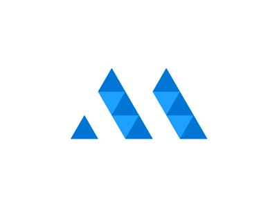 Am geometric monogram mountain logo design by alex tass
