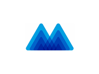 Letter M, Mountain, Mindfulness, letter mark / logo design