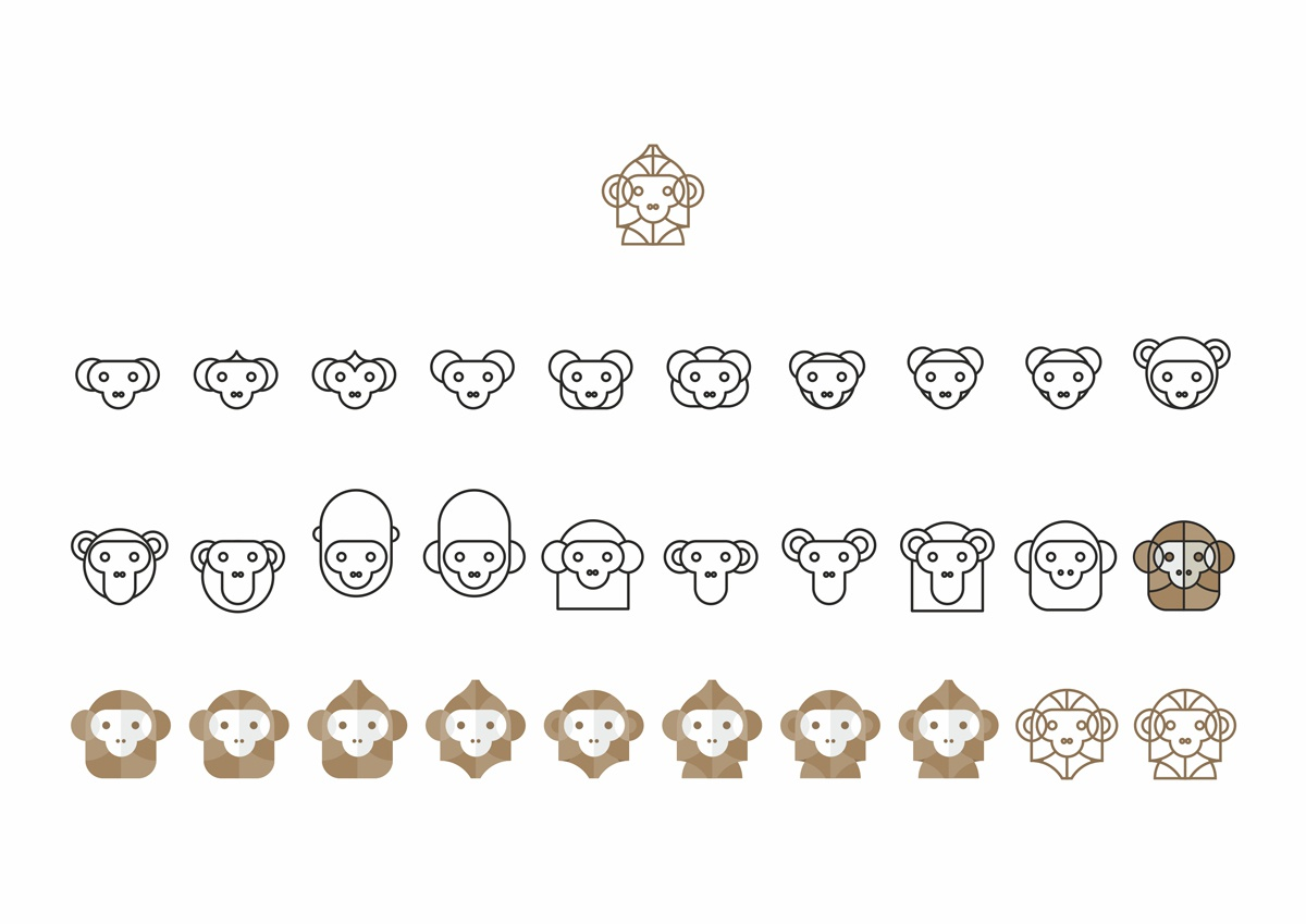 Drawing a monkey logo design symbol  30 variations by alex tass