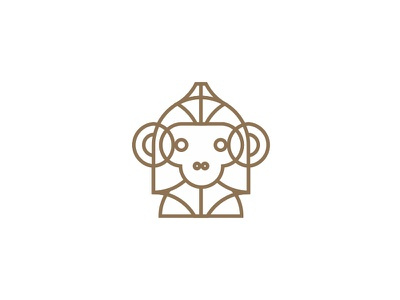 Drawing a monkey logo design symbol, 30 variations GIF elearning clever evolution primate ape monkey artificial intelligence ai learning machine face head helmet fun intelligent creature wild animals flat 2d geometric vector icon mark symbol logo design logo line art outlines modern abstract business