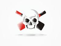 Pirate's Wine, experimental logo design - the skull