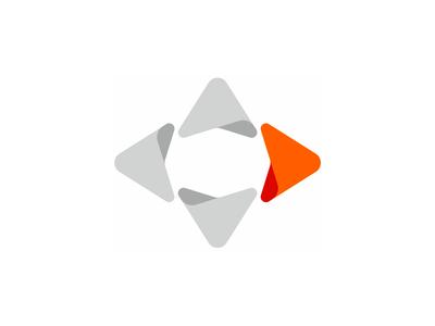 Letter D, direction arrow, logo design symbol
