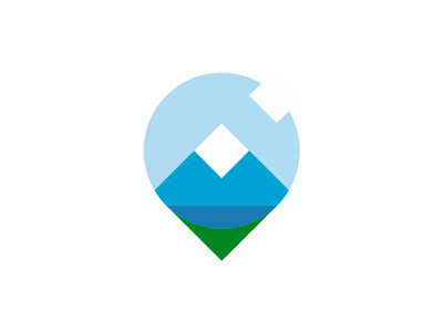 Nature mountain lake fields sun clouds pin pointer logo design by alex tass