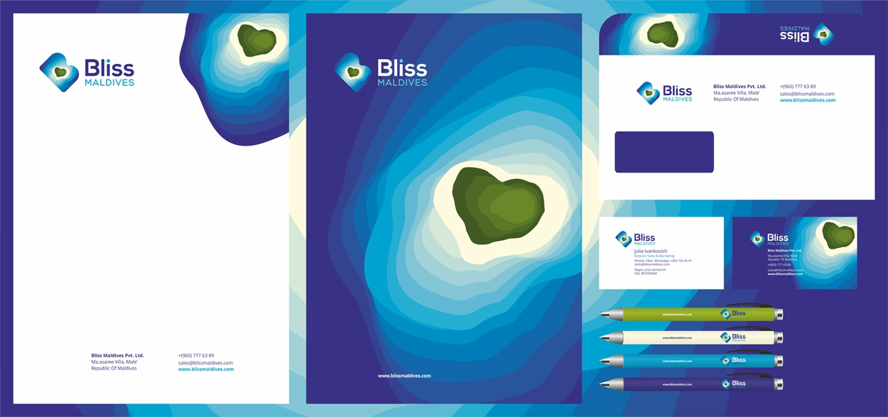 Bliss maldives stationery design by alex tass