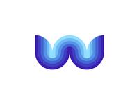 W Water / Waves, letter mark / logo design symbol