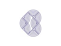 B, geometric letter mark, logo design symbol