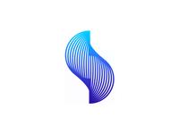 S letter mark, warping lines logo design symbol