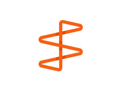SF monogram, looping path logo design symbol