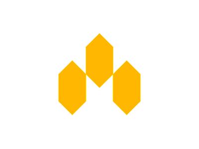Modular M letter mark, geometric logo design symbol