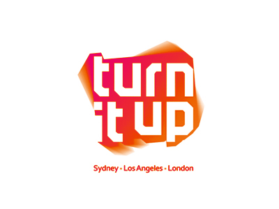 turn it up music management company logo design by alex tass