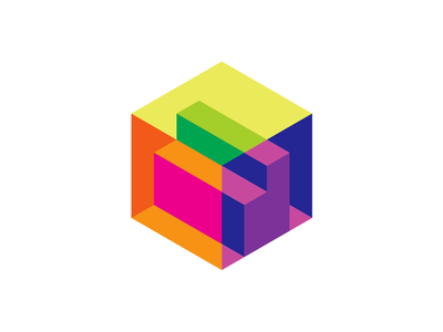 Letter D + cube for a 3D scanner, isometric logo design symbol