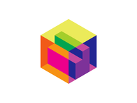 Letter D + cube for a 3D scanner, isometric logo design symbol