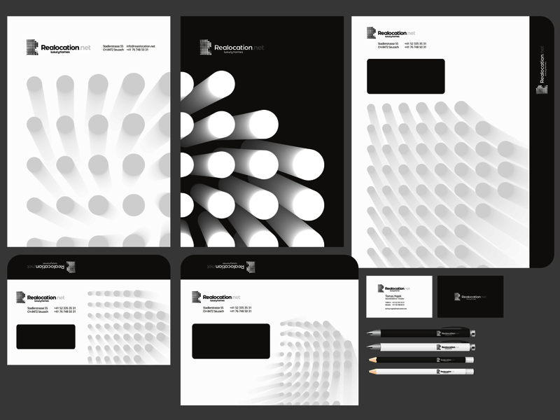 Realocation logo stationery identity design by alex tass