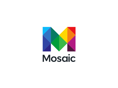 mosaic m letter mark logo design symbol by alex tass