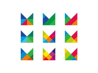 Mosaic, modular M letter mark, logo design symbol