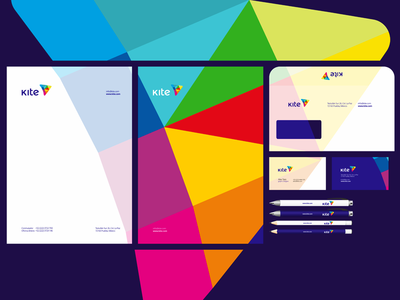 Kite, e-learning platform, logo, stationery, identity design