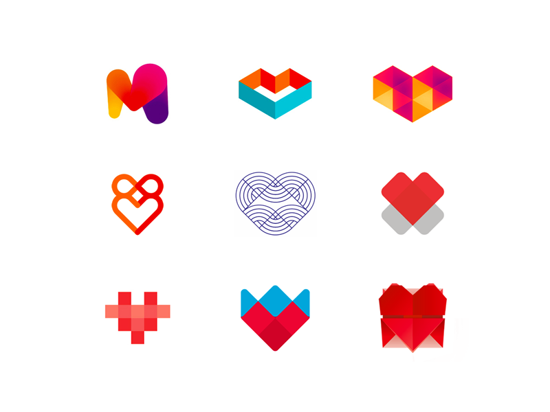 hearts logo design symbols collection by alex tass logo designer