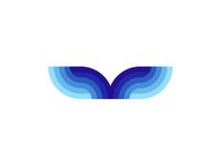 Whale tail / sea waves, logo design symbol