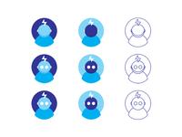 Artificial intelligence robot logo design symbol