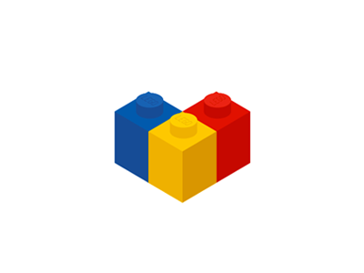 LEGO bricks + flag + heart shape, logo design symbol fans community flat 2d geometric vector icon mark symbol logo design logo heart flag bricks toys lego