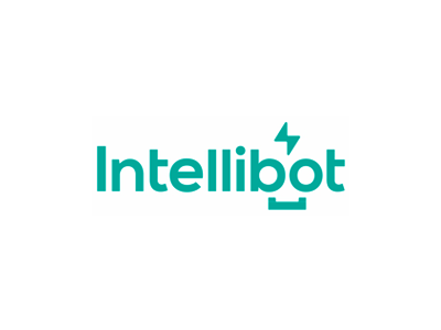 Intellibot, intelligent + robot, ai logo design flat 2d geometric logotype word mark logo design logo process automation platform business artificial intelligence ai intelligent robot