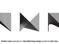 N letter mark new black logo design symbol by alex tass