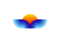 Whale tail / sea waves / sun, sunset, logo design symbol