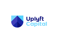 U letter, shield, skyscrapers, arrows, finance logo design