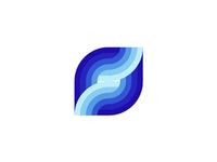 S letter, sea, waves, logo design mark