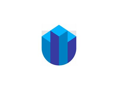 U shield skyscraper buildings finance financial logo design symbol by alex tass