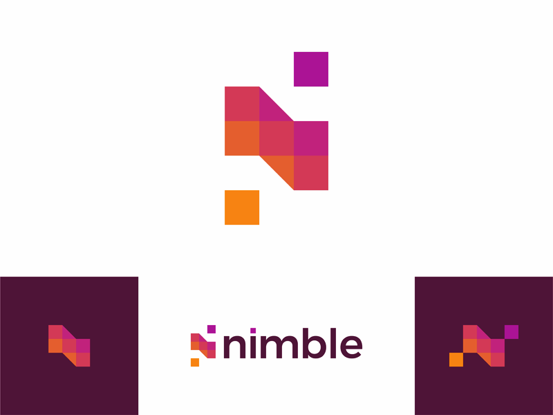 N nimble letter mark beautiful apps developer logo design by alex tass