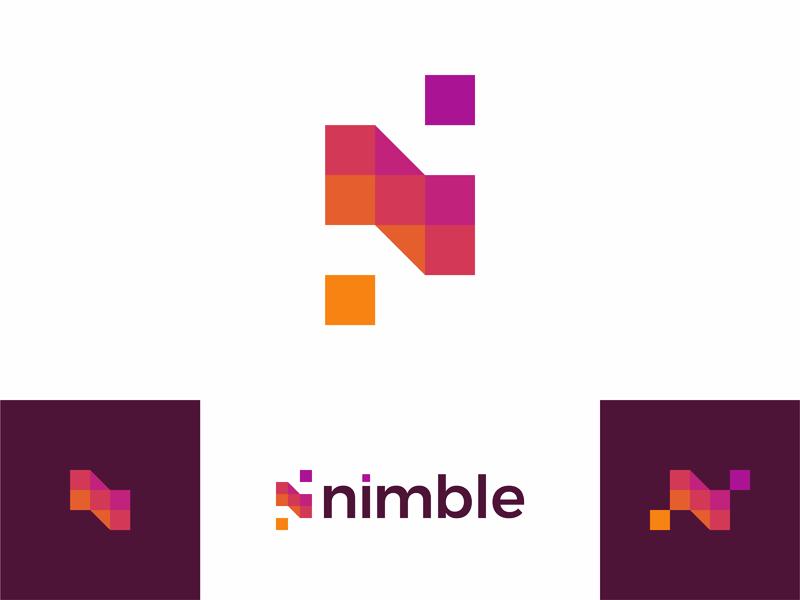 N for nimble, beautiful apps developer, logo design creative flat 2d geometric vector icon mark symbol logo design logo beautiful colorful apps developer letter mark monogram nimble n
