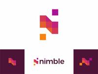 N for nimble, beautiful apps developer, logo design