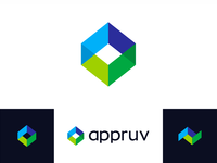 A + check mark + box, appruv logo design