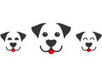 Dog smiling happy, logo design symbol
