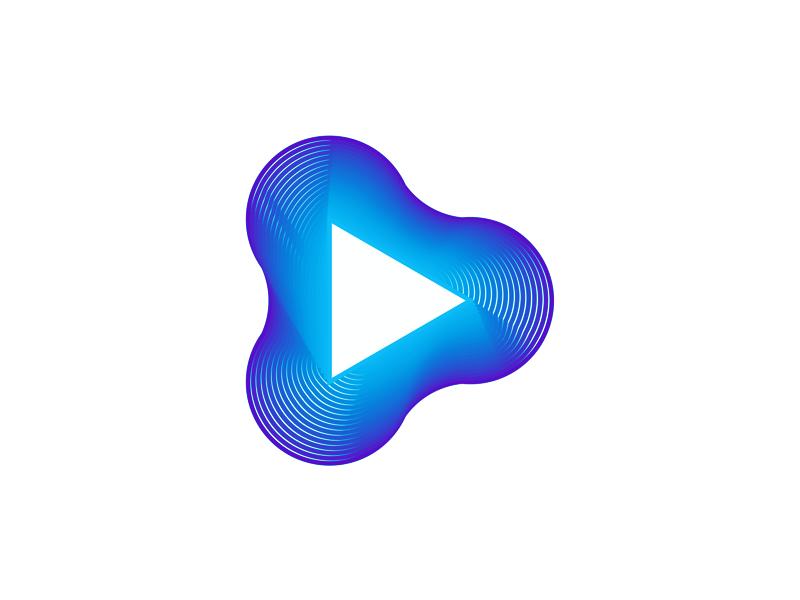 Play cue mix icon logo design symbol by alex tass