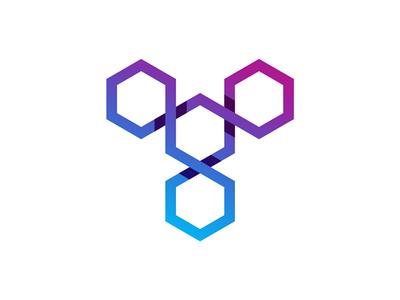 T letter mark / blockchain software developer logo design