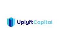 U letter, shield, skyscrapers, finance logo design