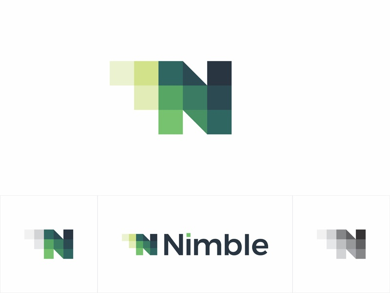 N geometric letter mark nimble apps developer logo design by alex tass