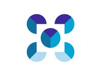 Letter M + charts, medicine ai system logo design