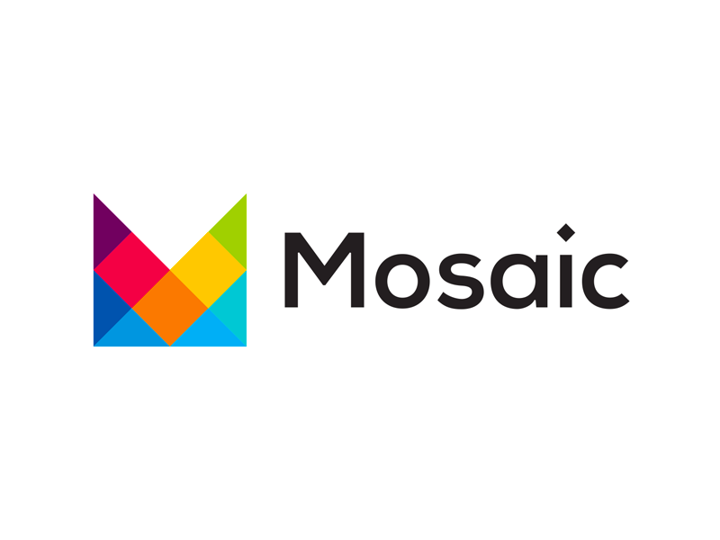 Mosaic m letter mark colorful logo design by alex tass