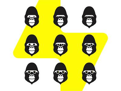 Gorilla Spark, logo design symbol explorations apps applications developers developer web development web design websites software flat 2d geometric vector icon mark symbol logo design logo costruction head wild animals energy flash spark ape monkey gorilla
