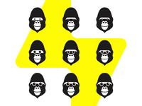 Gorilla Spark, logo design symbol explorations
