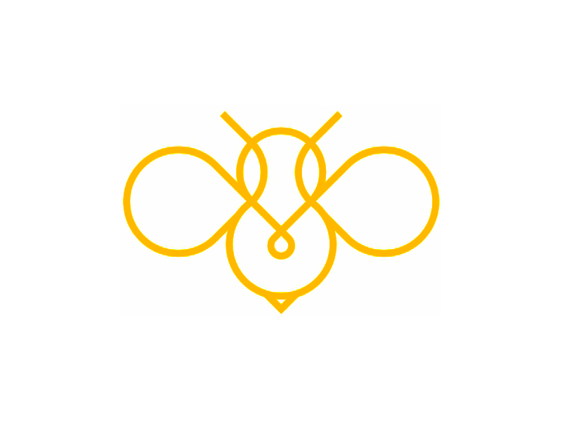 Honey bee insect line art logo design symbol by alex tass
