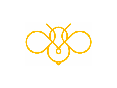 Bee line art logo design symbol pin pointer insects animals sweet hive bee honey drip drop wings clean simple line art logo logo design vector icon mark symbol flat 2d geometric wasp nature bees yellow honey bee bumblebee