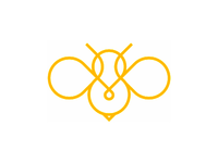 Bee line art logo design symbol