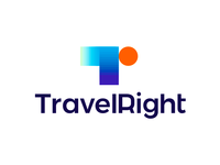 Travel Right logo design: T, r, arrow, plane, sun