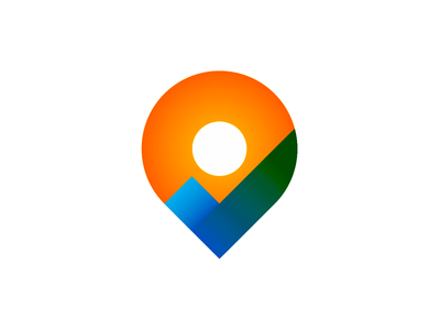 Pin pointer + check mark + nature, logo design symbol location travelling traveling travel geotargeting colorful creative flat 2d geometric vector icon mark symbol logo design logo checkmark check mark water sun nature pin pointer map
