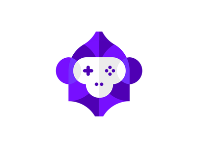 Gaming Ape: monkey + gaming pad, logo design symbol gorilla vr ar ai technology tech wild animals fun intelligent creature face head helmet smart clever artificial intelligence creative flat 2d geometric vector icon mark symbol logo design logo ape monkey game games gaming pad