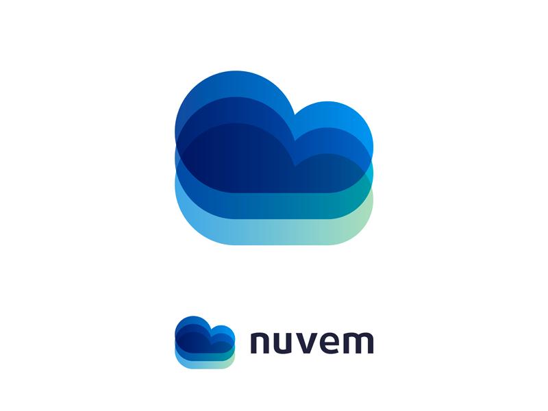 Nuvem, logo design for web & apps software developer sky blue creative flat 2d geometric vector icon mark symbol logo design logo it developer software apps web portuguese cloud nuvem